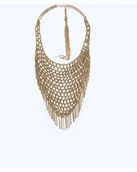 Zara Triangular Mesh Necklace - Lyst