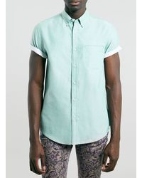 Topman Green Contrast Oxford Shirt - Lyst