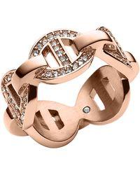 Michael Kors Rose Golden Pave Maritime Link Ring - Lyst