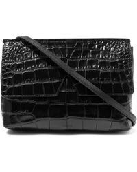 Vince - Black Baby Croc-embossed Leather Bag - Lyst
