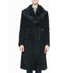 Donna Karan New York Doublebreasted Shearling Coat - Lyst