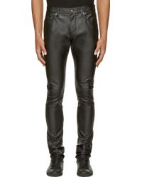 Saint Laurent Black Grained Leather Slim Jeans - Lyst
