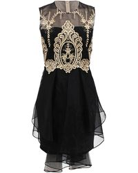 Notte by Marchesa Sleeveless Gold Lace Cocktail Dress - Lyst