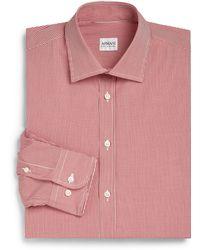 Armani Slim-Fit Neat Check Dress Shirt - Lyst