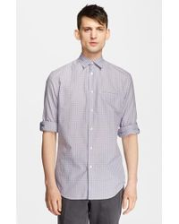 John Varvatos Men'S Slim Fit Roll Sleeve Check Woven Shirt - Lyst