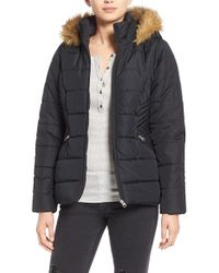 Krush - Hooded Faux-Fur Quilted Coat - Lyst
