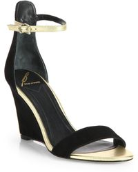 B Brian Atwood Roberta Suede Metallic Leather Wedge Sandals - Lyst