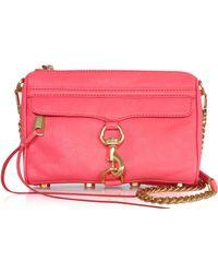Rebecca Minkoff Mini Mac Watermelon Leather Clutch W/Shoulder Strap - Lyst