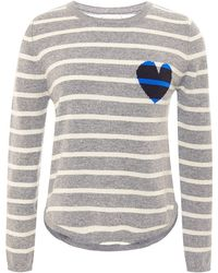 Chinti & Parker Striped And Heart-Intarsia Cashmere Sweater - Lyst