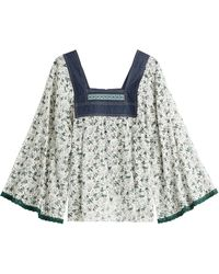 Anna Sui Printed Blouse With Denim green - Lyst