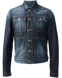 DSquared2 Distressed Denim Jacket - Lyst