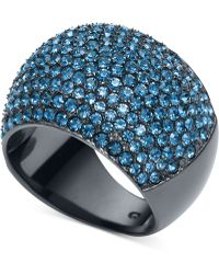 Michael Kors Gunmetal-tone Blue Pavé Dome Ring - Lyst