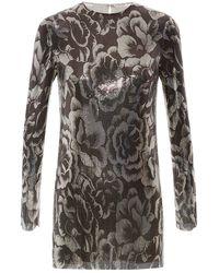 Blumarine Rose Print Chainmail Dress - Lyst