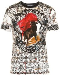 Dolce & Gabbana Abstract Tile And Bull-Print Cotton T-Shirt - Lyst
