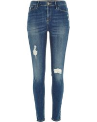 River Island Mid Wash Distressed Molly Jeggings - Lyst