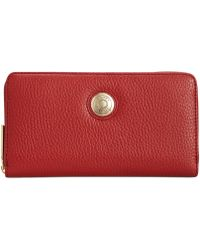 Tommy Hilfiger Th Signature Pebble Leather Large Zip Around Wallet - Lyst