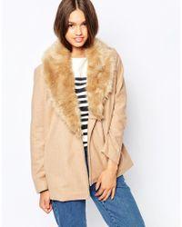 Barneys Originals - Coat With Deep Faux Fur Collar - Lyst
