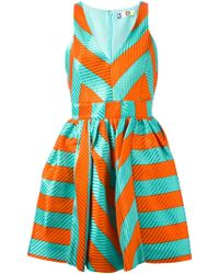 MSGM Chevron Print Flared Dress - Lyst