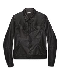 Helmut Lang Washed Paper Leather Jacket - Lyst