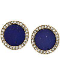 Michael Kors Gold-Tone Lapis Blue Circular Stud Earrings gold - Lyst