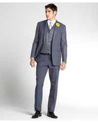 Etro Grey Glen Plaid Wool 3piece Suit with Boutonnière Detail and Flat Front Pants - Lyst