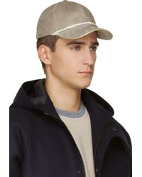 Marc Jacobs Taupe Nubuck Leather Gold_trimmed Cap - Lyst