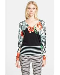Etro Women'S Floral Print Stretch Silk Sweater - Lyst