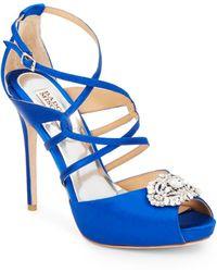 Badgley Mischka Fisher Jewel-Embellished Satin Sandals blue - Lyst