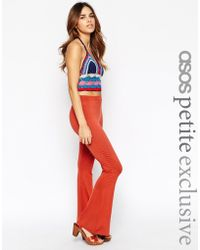 Asos High Waist Jersey Flares red - Lyst