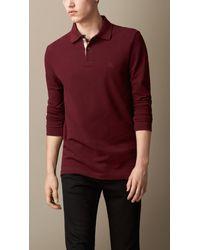 Burberry Long Sleeve Polo Shirt - Lyst