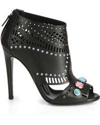 Gucci Lika Stone Peep-Toe Booties - Lyst