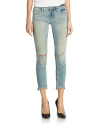 Free People Distressed Skinny Jeans - Lyst