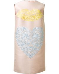Stella McCartney Pink Straight Cut Embroidered Dress - Lyst