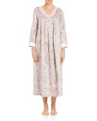 Oscar de la Renta   multicolor Paisley-print Brushed Back Satin Gown   Lyst