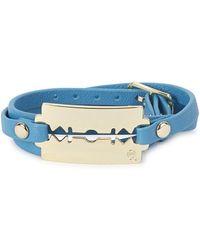 McQ - Turquoise Razor Leather Wrap Bracelet - Lyst