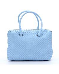 Bottega Veneta Sky Blue Intrecciato Leather Large Top Handle Bag - Lyst