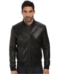 Cole Haan Bonded Leather Varsity Jacket With Raw Edges - Lyst