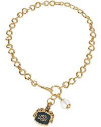 Lauren by Ralph Lauren Logo Pendant Chain Link Necklace - Lyst
