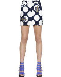 Kenzo Polka Dot Printed Denim Mini Skirt - Lyst
