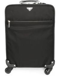 Prada Black Nylon Rolling Suitcase - Lyst