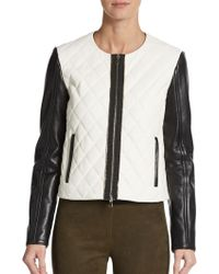 DROMe Quilted Two-Tone Leather Jacket - Lyst