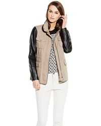 Vince Camuto Mixed Media Jacket - Lyst