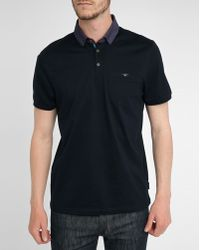 Ted Baker Navy Contrasting-Collar Jersey Polo Shirt blue - Lyst