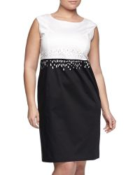 Lafayette 148 New York Harper Two-Tone Sheath Dress, Black/White - Lyst