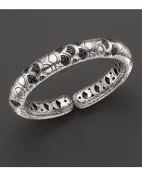 John Hardy Women'S Naga Silver Lava Slim Flex Cuff With Black Sapphires - Lyst