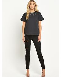 French connection Black Scubalicious Top - Lyst