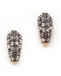 Katie Rowland Stone Studded Fang Earrings Rose Gold Lavender - Lyst