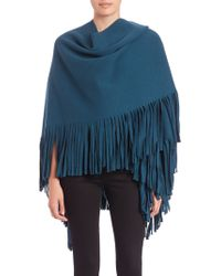 Burberry Prorsum Prorsum Wool & Cashmere-Blend Fringed Poncho teal - Lyst