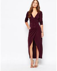 First & I - Maxi Dress With Split Wrap Front - Lyst