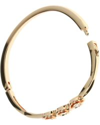 Indulgence Jewellery - Rose Gold Colour Bangle With Cz 3 Roses - Lyst